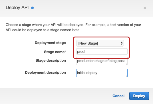 api gateway select deploy stage